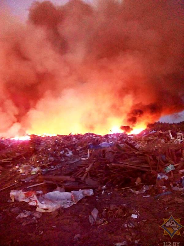 Под Борисовом пожарные тушили мусорную свалку несколько часов 1