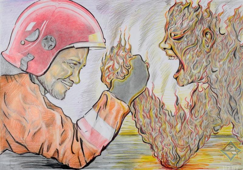 Рисунок про пожарных людей отважных