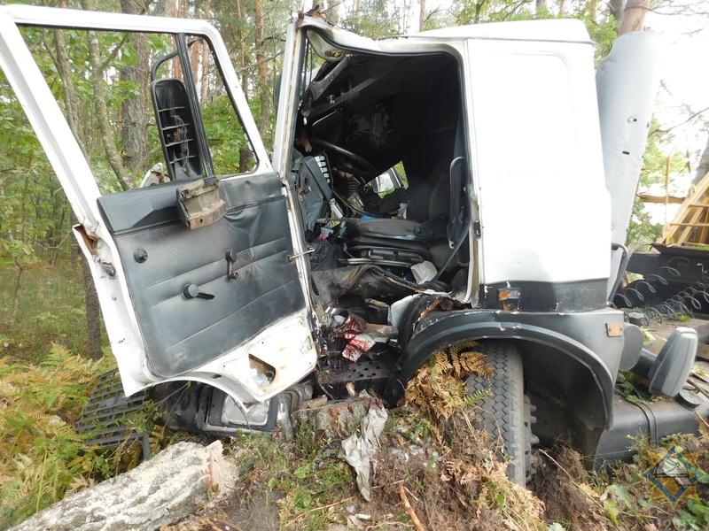 Панелевоз съехал в кювет и врезался в дерево, пострадал водитель